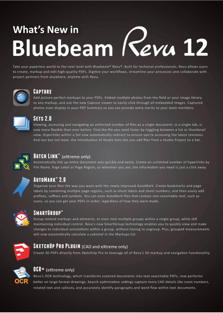 What's new in Bluebeam Revu Version 12