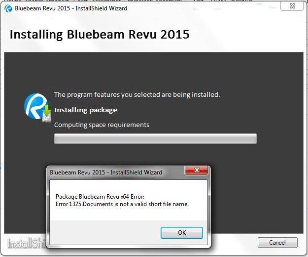 Error 1325 Bluebeam