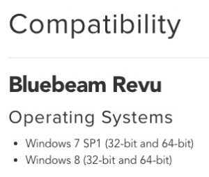 Current Bluebeam 2015 Operating System Compatibilty