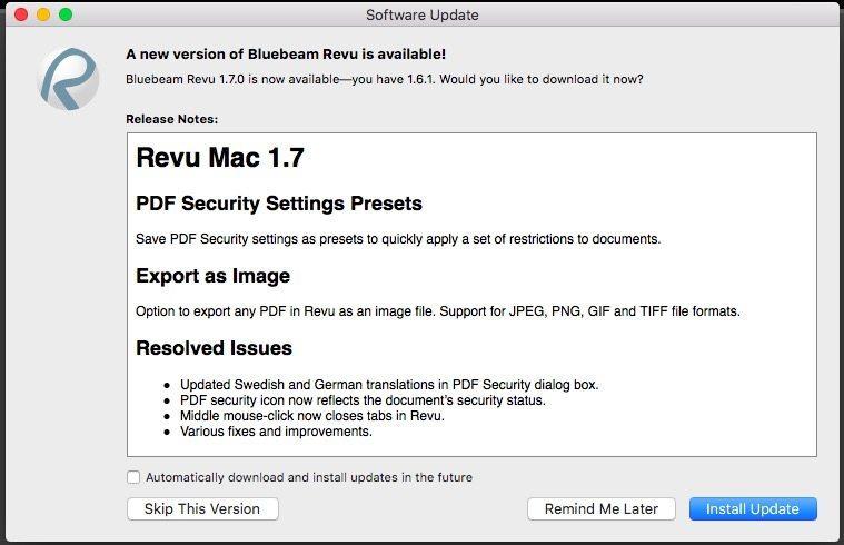 Revu Mac update 1.7
