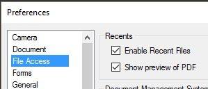 File Access Recent Files in Bluebeam Revu