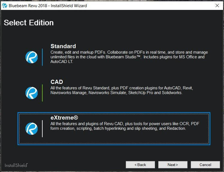 Revu 2018 Select Standard, CAD, or Extreme