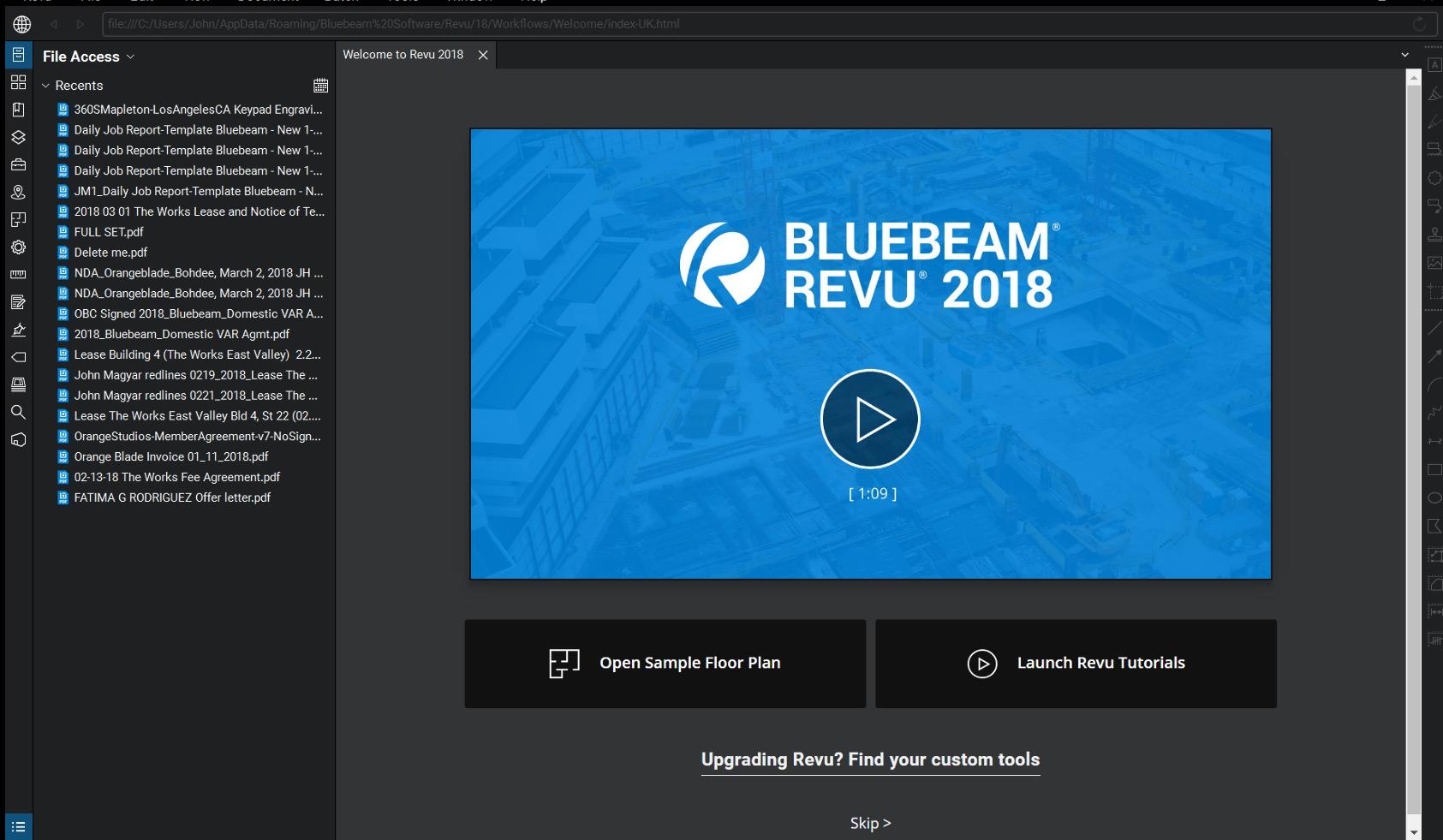 Revu 2018 User Interface