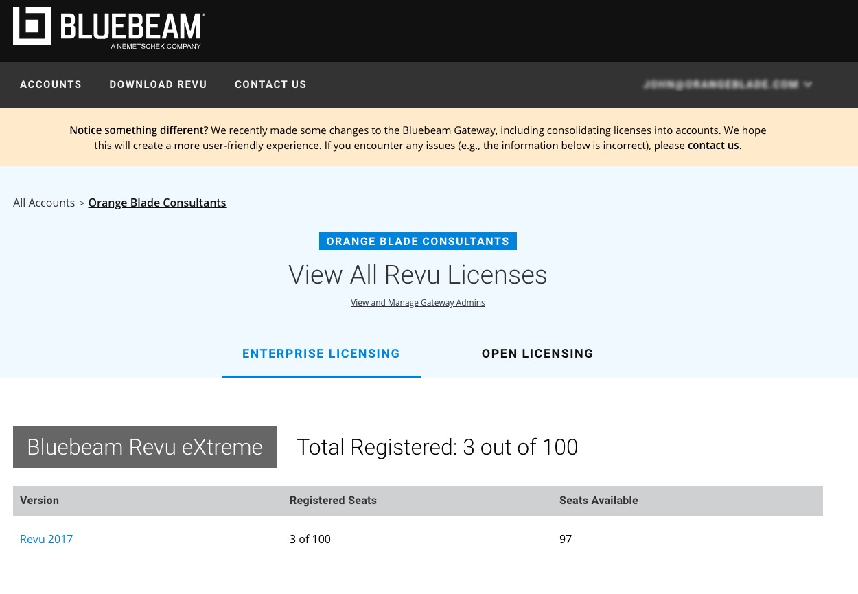 Bluebeam Gateway - logging in to see your Bluebeam License Inventory