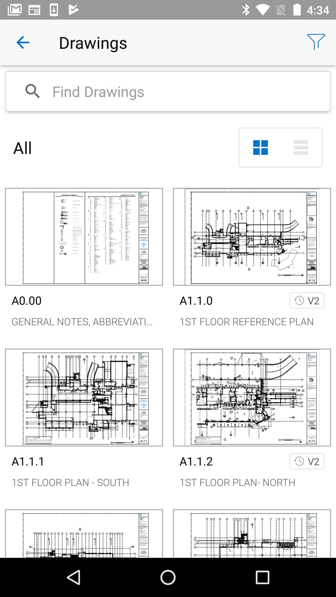 Bluebeam Drawings Android device