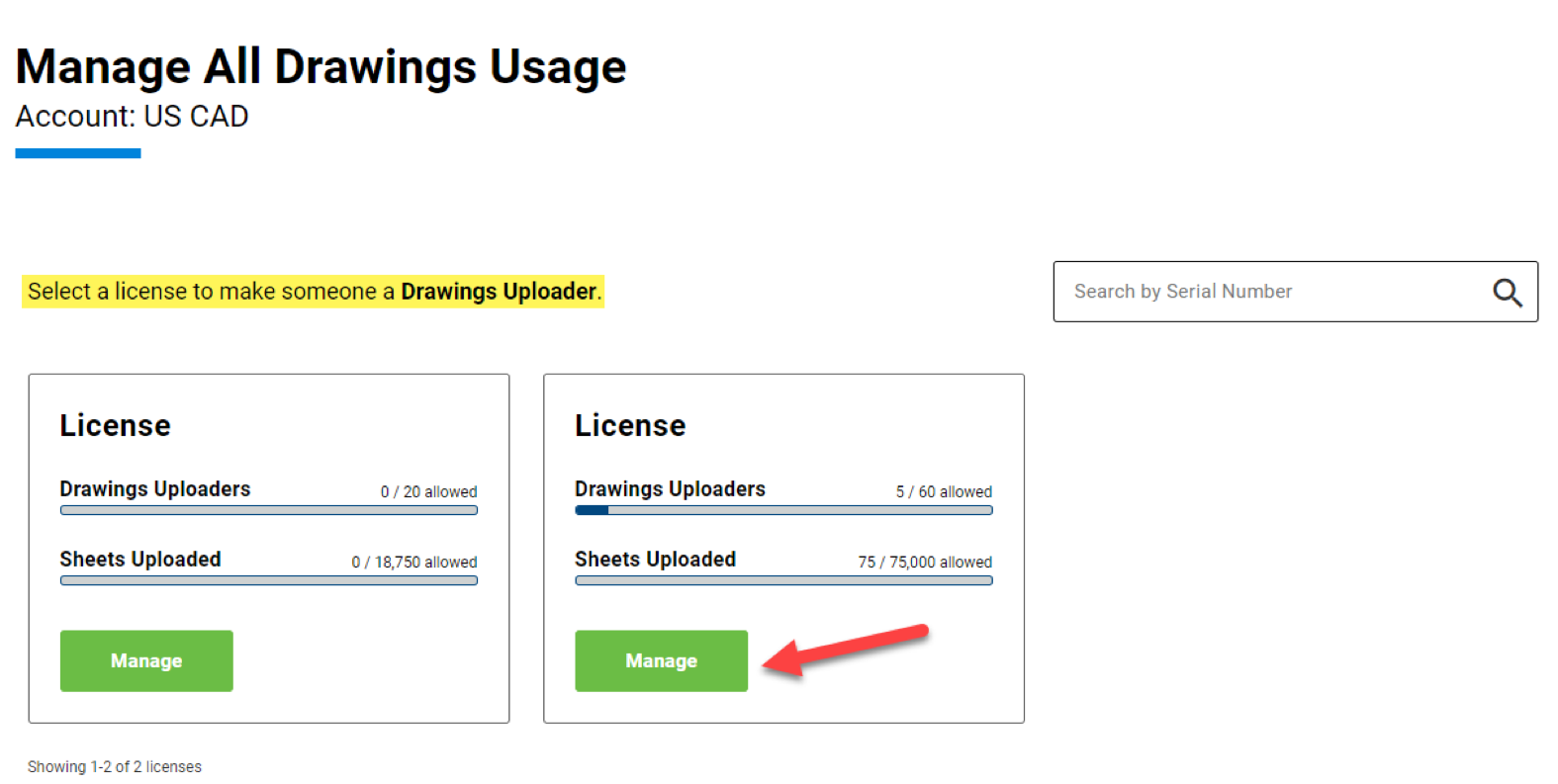 Manage Drawings Users