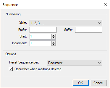 Sequence dialog box in Bluebeam